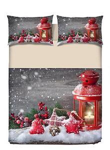 Copripiumino Matrimoniale Natale.Copripiumino Matrimoniale Chalet Natale Candele Rosso Stampa