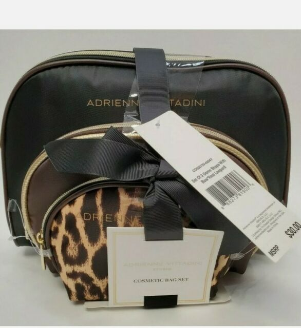 Adrienne Vittadini Cosmetic Bag Set Black Brown Animal Print Set Of 3 For Sale Online In 1979, adrienne vittadini launched her own lifestyle brand. adrienne vittadini cosmetic bag set black brown animal print set of 3