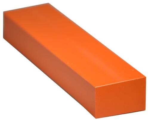 "HDPE Plastic Bar Stock 2/"" x 3/"" x 12/"" for Machining orange color"