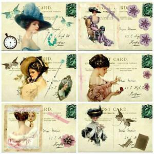 12-VINTAGE-LADIES-POSTCARDS-Embellishments-Card-Making-Toppers-Card-Toppers