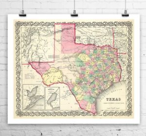 Antique State Map of Texas 1856 Rolled Canvas Giclee Print 29x24 in ...