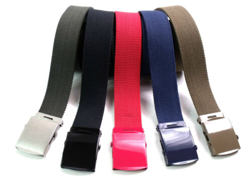 New Mens Ladies Kids New High Quality Canvas Cotton Webbing Belt Coloured Buckle