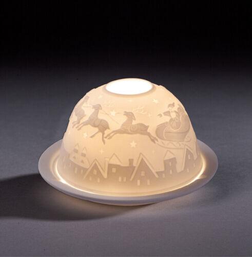 """Dome Light /""""Père Noël avec renne/"""" Ø 12 cm hauteur 7 cm NEUF lumignons Support"""