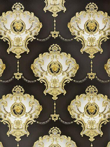 3,56 Tapete Satin Barock Medusa Ornament Tapete Hermitage Glanz schwarz 6553-70