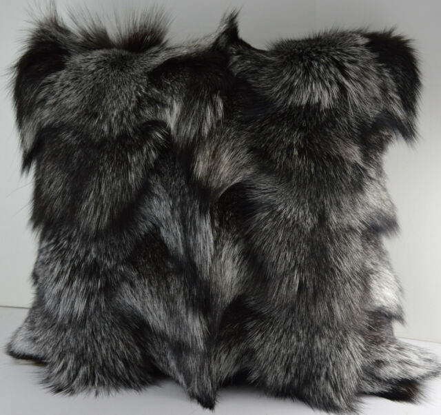 Real Genuine Silver Fox Sections Fur Pillow 18 x 18 New made in usa  fur cushion