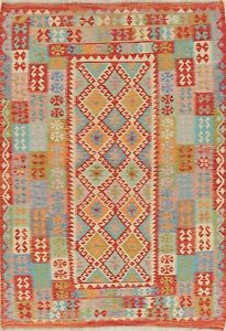 Red-Turquoise-Blue-Turkish-Kilim-Area-Rug-Hand-Woven-Oriental-Wool-Carpet-6x8