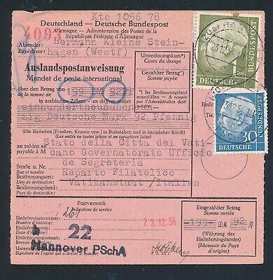 Unter Der Voraussetzung 89329) Auslands - Postanweisung Heuss, Mif Hannover - Vatikan Die Neueste Mode