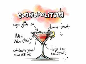 Art Print Painting Drawing Alcohol Cocktail Recipe Cosmopolitan Lfmp0930 Ebay