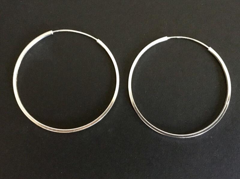 925 Sterling Silver Hoop Earrings Classic Sleeper Large Flat Endless Hoops 50mm
