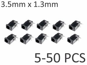 5-50-pcs-Black-3-5mm-x-1-3mm-DC-Power-Barrel-Jack-Socket-PCB-Mount-Connector
