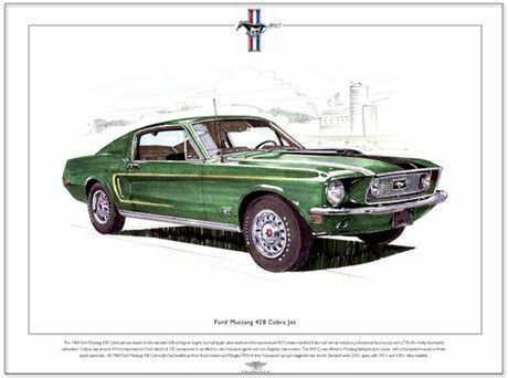 Fine Art Print 1968 American muscle car A3 size FORD MUSTANG 428 COBRA JET