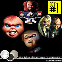 Chucky Set Of 4 Buttons Or Magnets Or Mirrors Killer Doll Bride Of Pins 1366