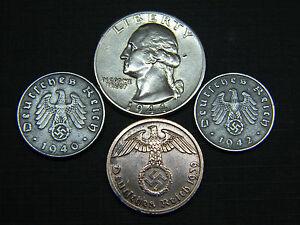 1937-1940 24k Gold Plated German 1 Reichspfennig Coin