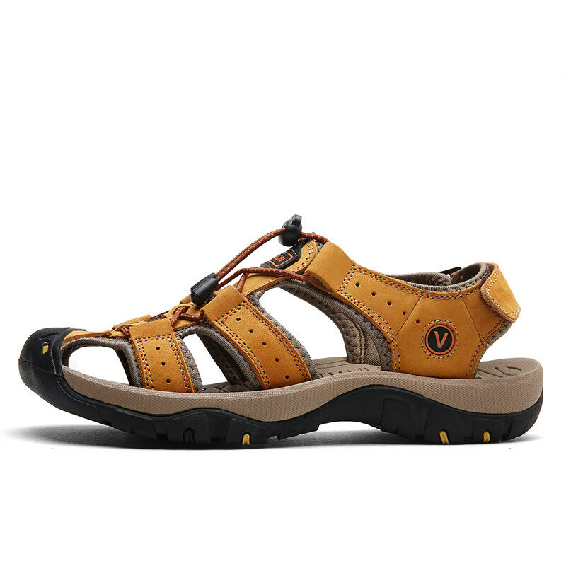 91f18f7a360d Mens Beach Sandals Summer Casual Sandals Hiking Outdoor Genuine Cowhide  shoes KK