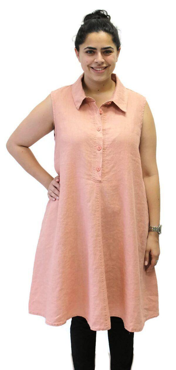 Flax Designs Linen Speakeasy Tunic Dress  NWT  Salmon Washed Größe Medium