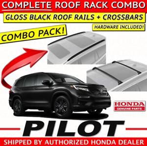 Genuine Oem Honda Pilot Gloss Black Roof Rails Crossbars Combo 2016 2020 Ebay