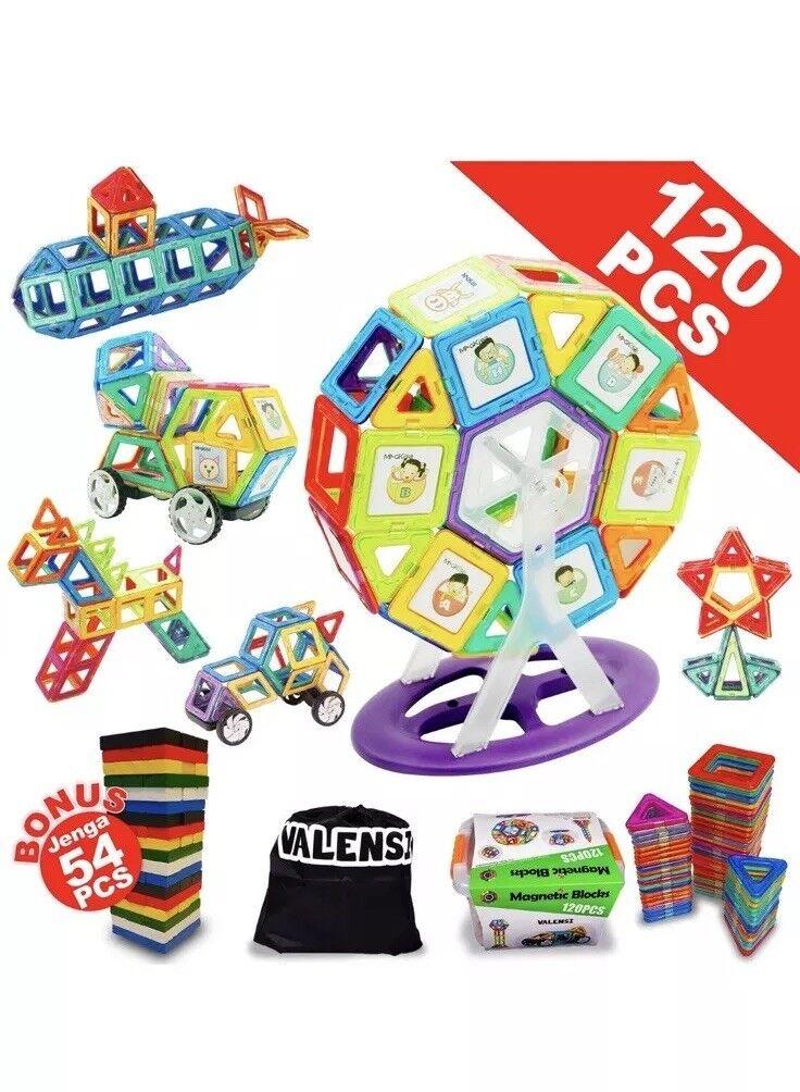 100 Caja de del 120pc Magnético Educativo Bloques de construcción + Regalo para niños mayores de 3+