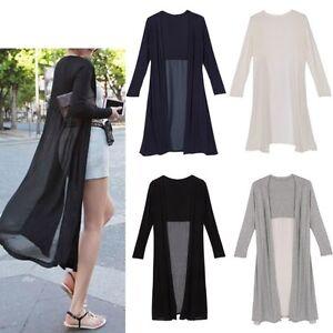 Womens Summer Casual Long Sleeve Chiffon Cardigan Dress Top Coat ...