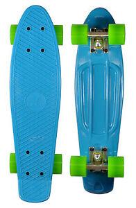 Skate-board-Planche-Fix-plastique-Bleu-56-cm-Roulements-ABEC-7-Retro-Vintage
