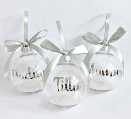 Personalised Name Bauble Christmas Decoration Tree Clear Glass Ornament Gift