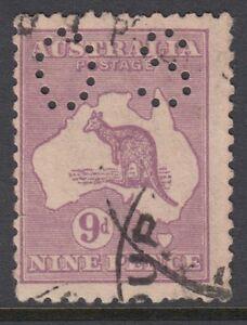 """Australie Kangourou Officiel:1915 9d Violet Die Ii Percé De Petits """"os"""" Sgo47 U-afficher Le Titre D'origine"""