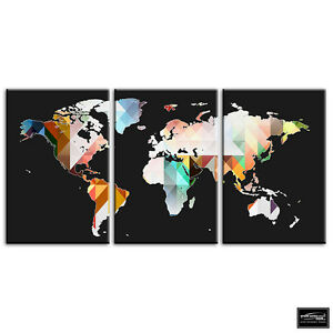 World Map Geometric Maps Flags Box Framed Canvas Art Picture Hdr