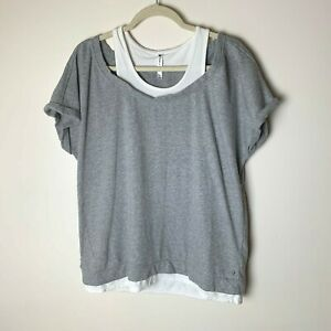 Fabletics-Women-039-s-Tasha-Short-Sleeve-Tee-Top-Size-XXL-Gray-White-French-Terry