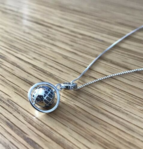 Tierra Collar World Traveller Medallón Globo Collar de plata esterlina 925 16/'