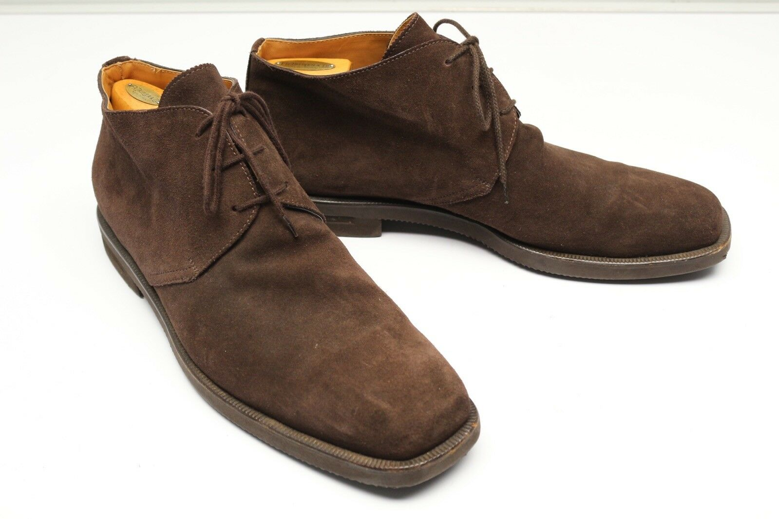 Sutor Mantellassi Suede Chukka Ankle Boots 13 Brown Leather Rubber Sole shoes