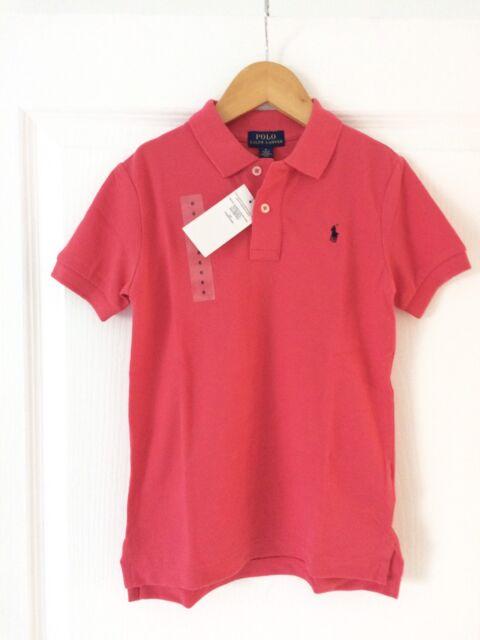 Polo Ralph Lauren framboise - logo brodé marine - 6 ans