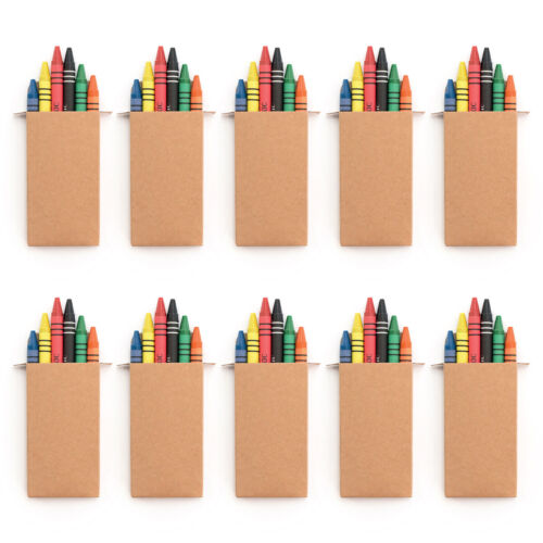 10 SETS OF 6 COLOURING WAX CRAYONS KIDS PARTY BAG WEDDING FAVOUR GIFT LOOT