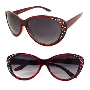 57efd6a9edb Image is loading Womens-Cat-Eye-Bifocal-Sunglasses-Sun-Reader-Rhinestones-