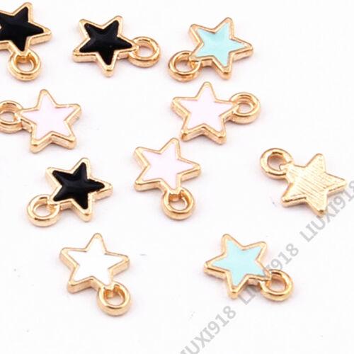 Colgante de Estrella de Esmalte 20pc Pequeño Encanto Perlas pendiente de toma de pulsera encontrar 959H
