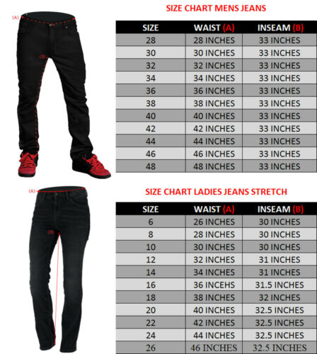 """NEW MENS MOTORCYCLE KEVLAR® LINED BLACK JEANS REINFORCED MATERIALS 32/""""W"""