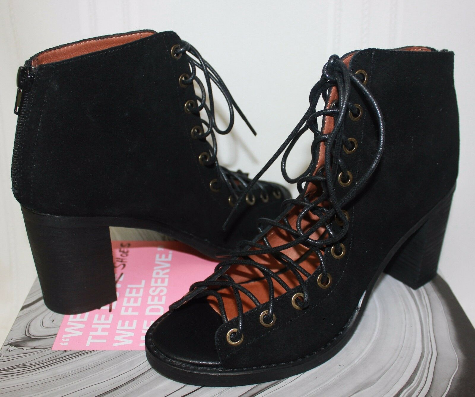 Jeffrey Campbell Cors Lace Up shoes Black Suede New With Box