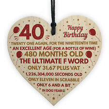 Funny 40th Birthday Gifts For Men Women Wood Heart Decoration Mum Dad Friend