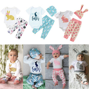 New Toddler Newborn Baby Girl Floral Bunny Tops Romper Pants Outfits Set Clothes