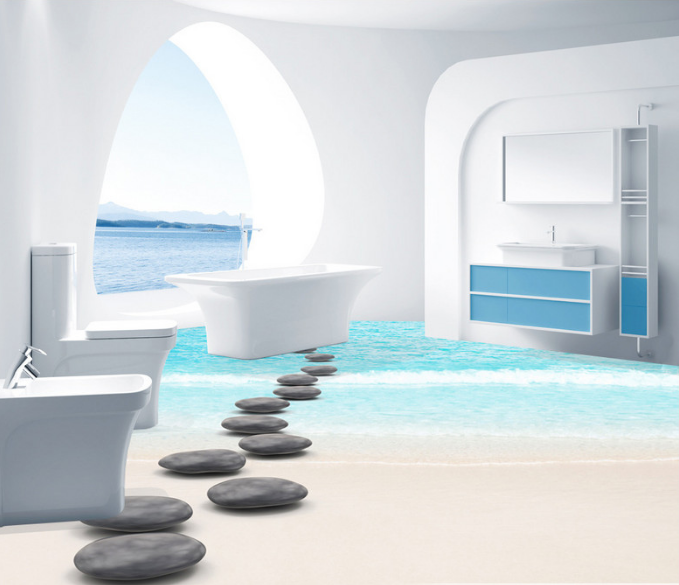 3D Stones Beach 5 Floor WallPaper Murals Wall Print 5D AJ WALLPAPER UK Lemon