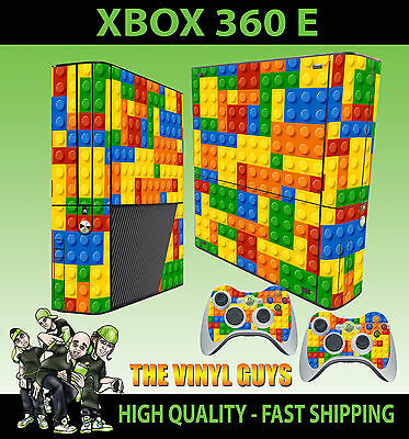 Conscientious Xbox 360 E Toy Brick Wall Building Blocks Sticker Skin & 2 Pad Skin Faceplates, Decals & Stickers Video Games & Consoles