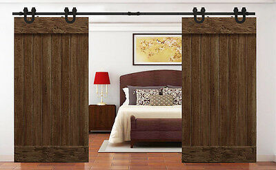 12FT Country Black Barn Wood Steel Sliding Double Door Closet Hardware Track Set