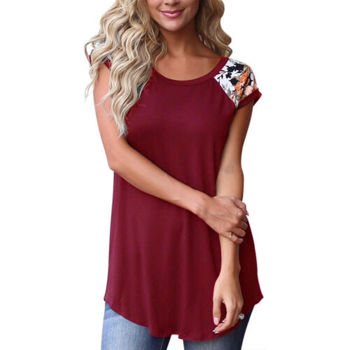 Damen Rundhals Blumen Kurzarm T-shirt Oberteil Bluse Sommer Longtop Longshirt 42