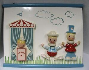 IRMI CIRCUS CLOWNS TICKET BOOTH WALL PLAQUE MID CENTURY WOOD BLUE RED