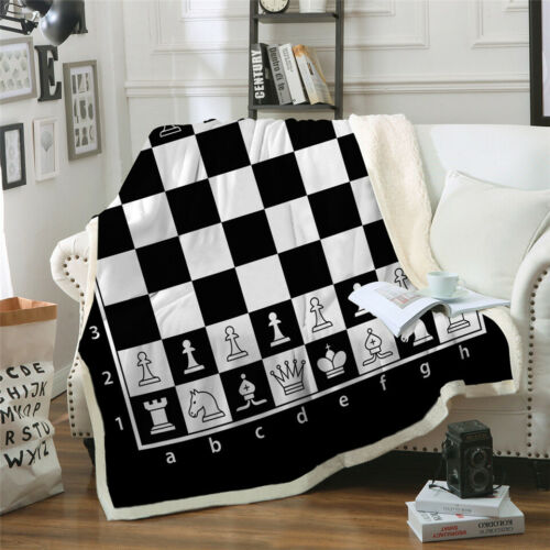 3D Chess Board Print Sherpa Blanket Sofa Couch Quilt Cover Throw Blanket