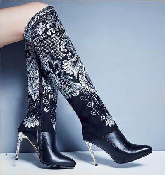 Women Knee High Boots embroider Stilettos Heel Elegant Pointy toe Shoes Zipper