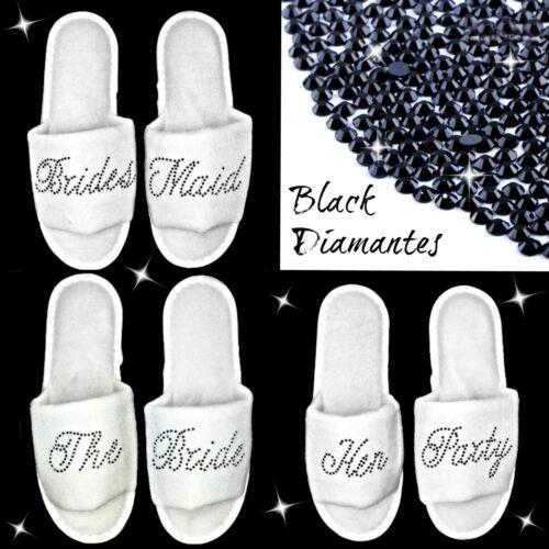 WEDDING SLIPPERS WHITE PERSONALISED BLACK DIAMANTE RHINESTONES BRIDAL PARTY SPA