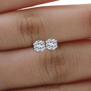 Forever-One-2-00-ct-Round-Moissanite-14k-White-Gold-FN-Screw-back-Stud-Earrings