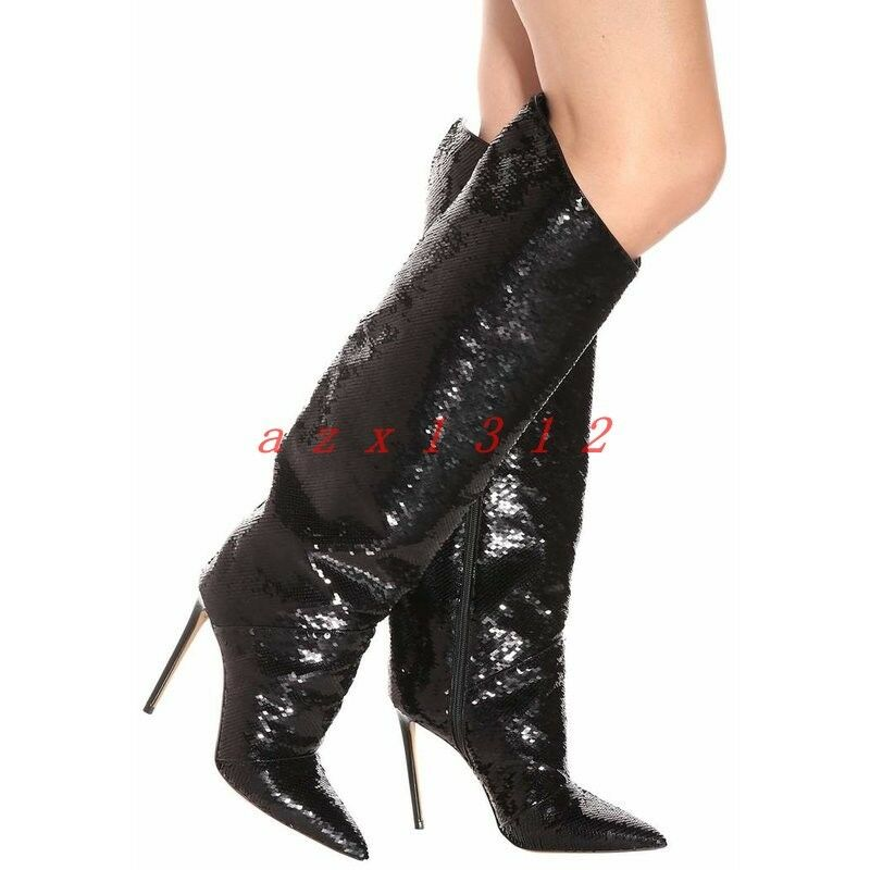 Women Pointy Toe High High High Stiletto Heel Zip Real Leather Shiny Knee Boot shoes Party 90344f