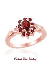 Ring 0.9 CT. Natural Garnet 925 Sterling Silver - 18K Rose Gold Flashed Size 7