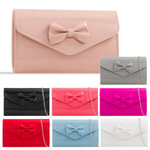 Ladies-Cute-Patent-Bow-Clutch-Bag-Evening-Bag-Girl-Prom-Bag-Party-Handbag-KH2518