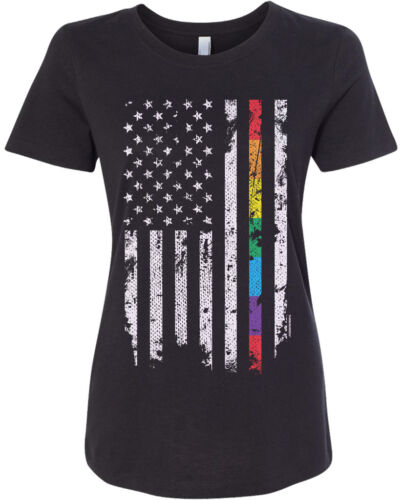 Threadrock Women/'s Gay Pride Rainbow American Flag T-shirt